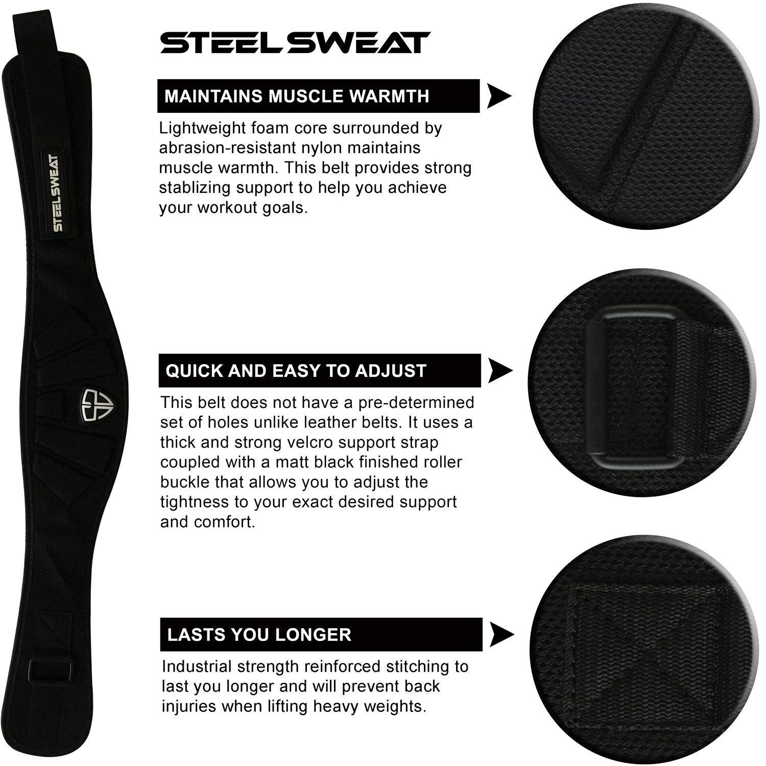 Steel Sweat Weight Lifting Belt - Nylon 6-inch Firm & Comfortable Back Support, Best for Workouts at The Gym, Weightlifting or Crossfit. Easily Adjustable MAXE Black XXL