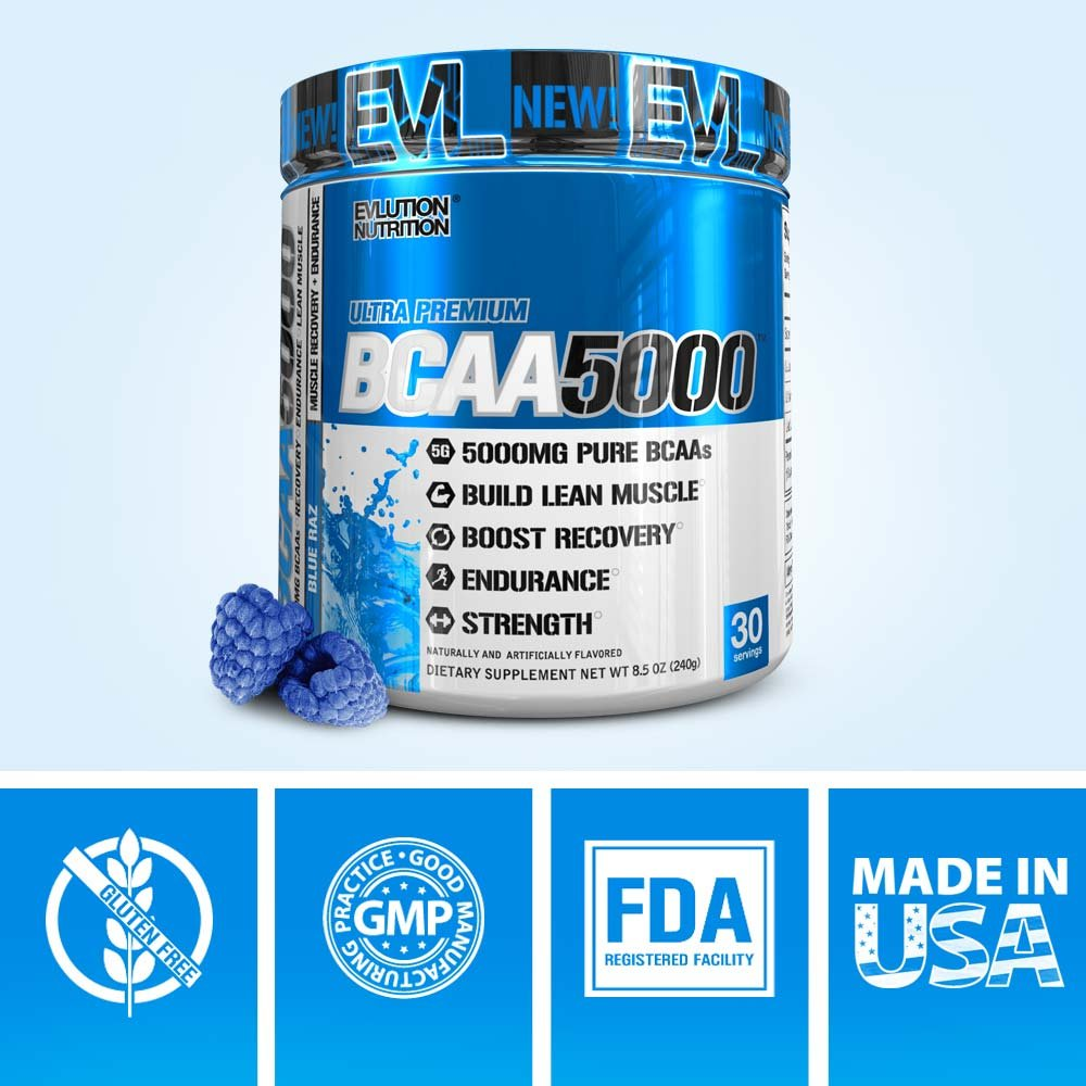Evlution Nutrition BCAA5000 Powder 5 Grams of Premium BCAAs (30 Servings, Blue Raz)
