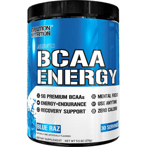 Evlution Nutrition BCAA Energy - High Performance Amino Acid Supplement for Anytime Energy, Muscle Building, Recovery and Endurance, Pre Workout, Post Workout (Blue Raz, 30 Servings)