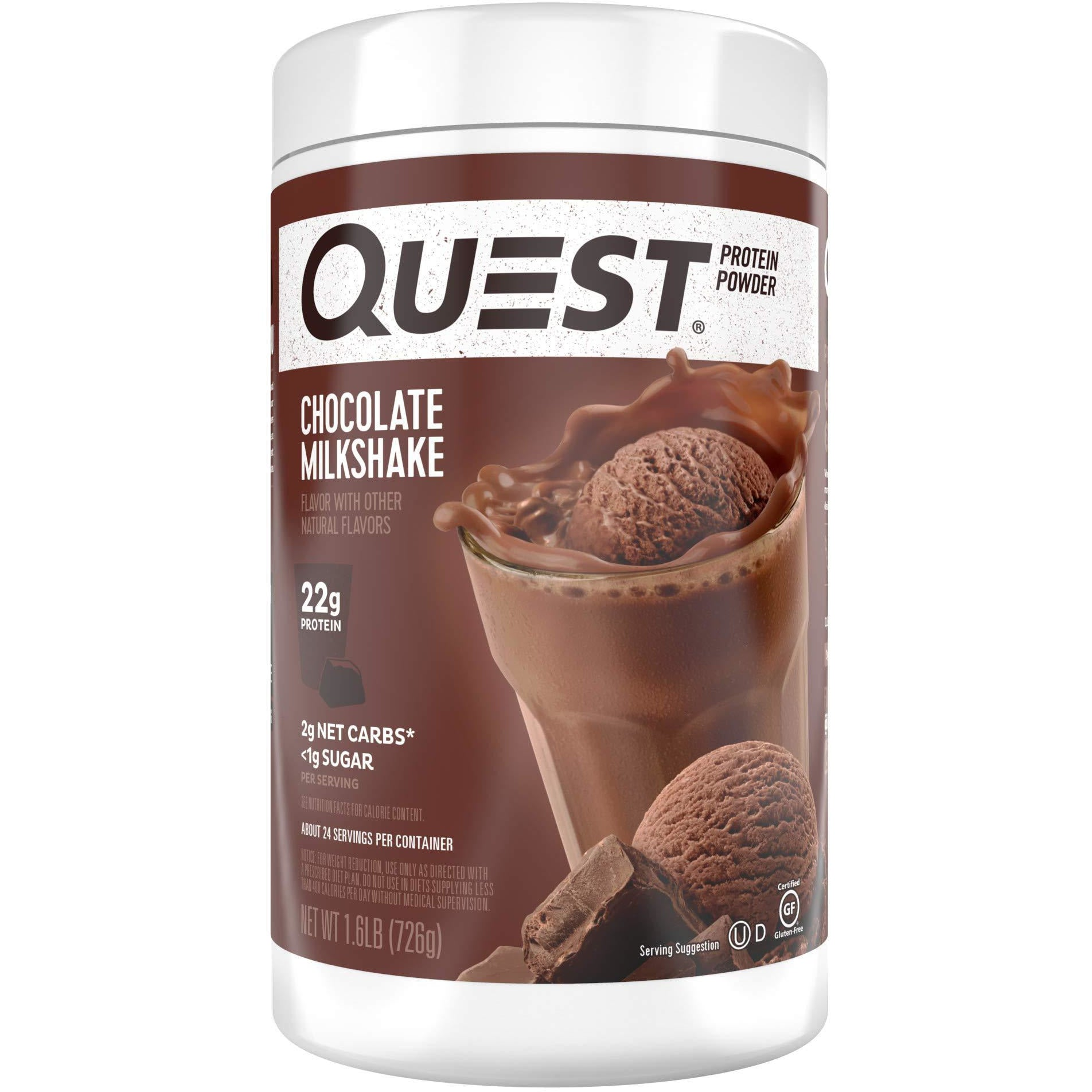 Quest Nutrition Chocolate Milkshake Protein Powder, High Protein, Low Carb, Gluten Free, Soy Free, 1.6 Pound