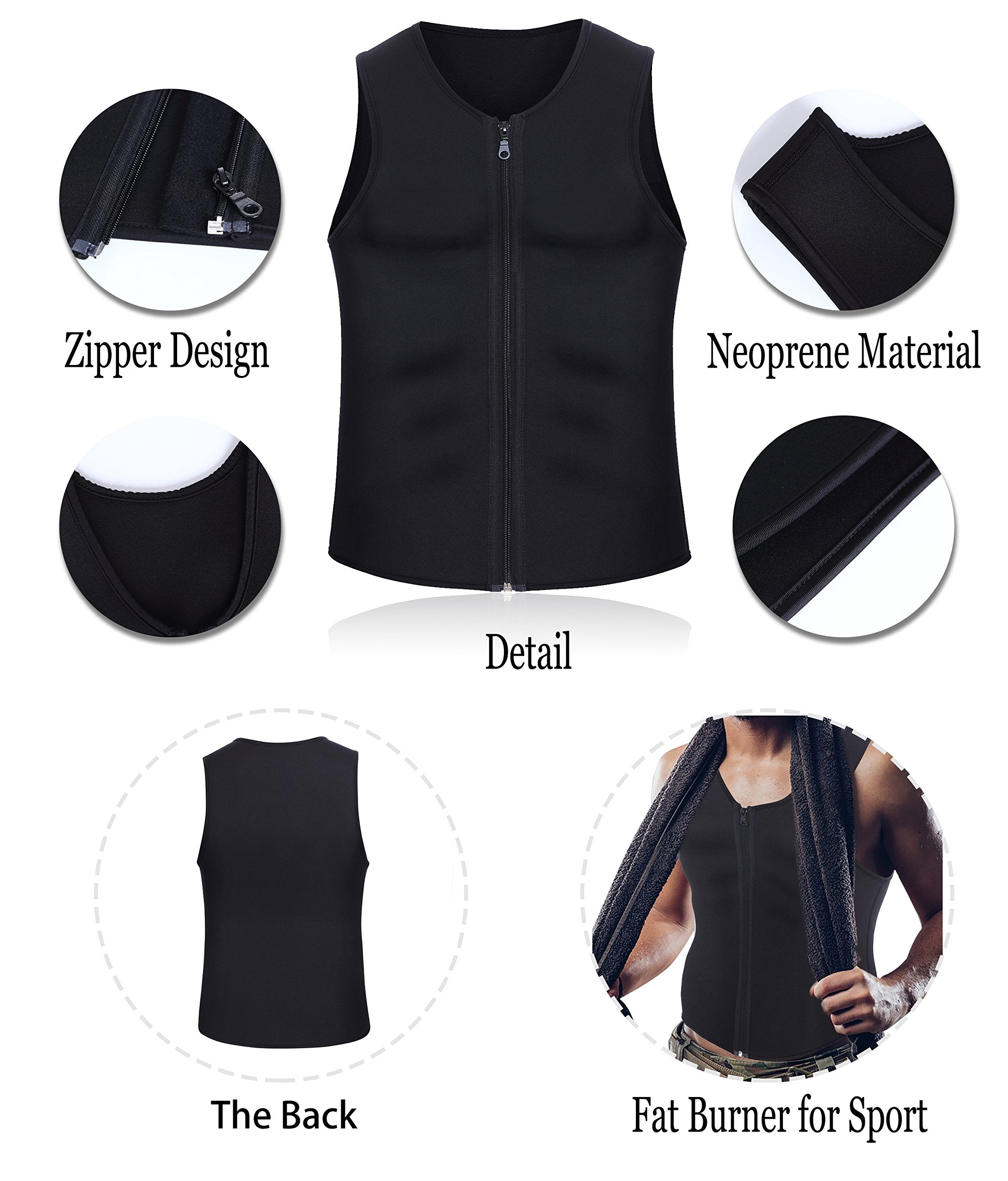Men Waist Trainer Vest for Weightloss Hot Neoprene Corset Body Shaper Zipper Sauna Tank Top Workout Shirt (L, Black Neoprene Slimming Vest)