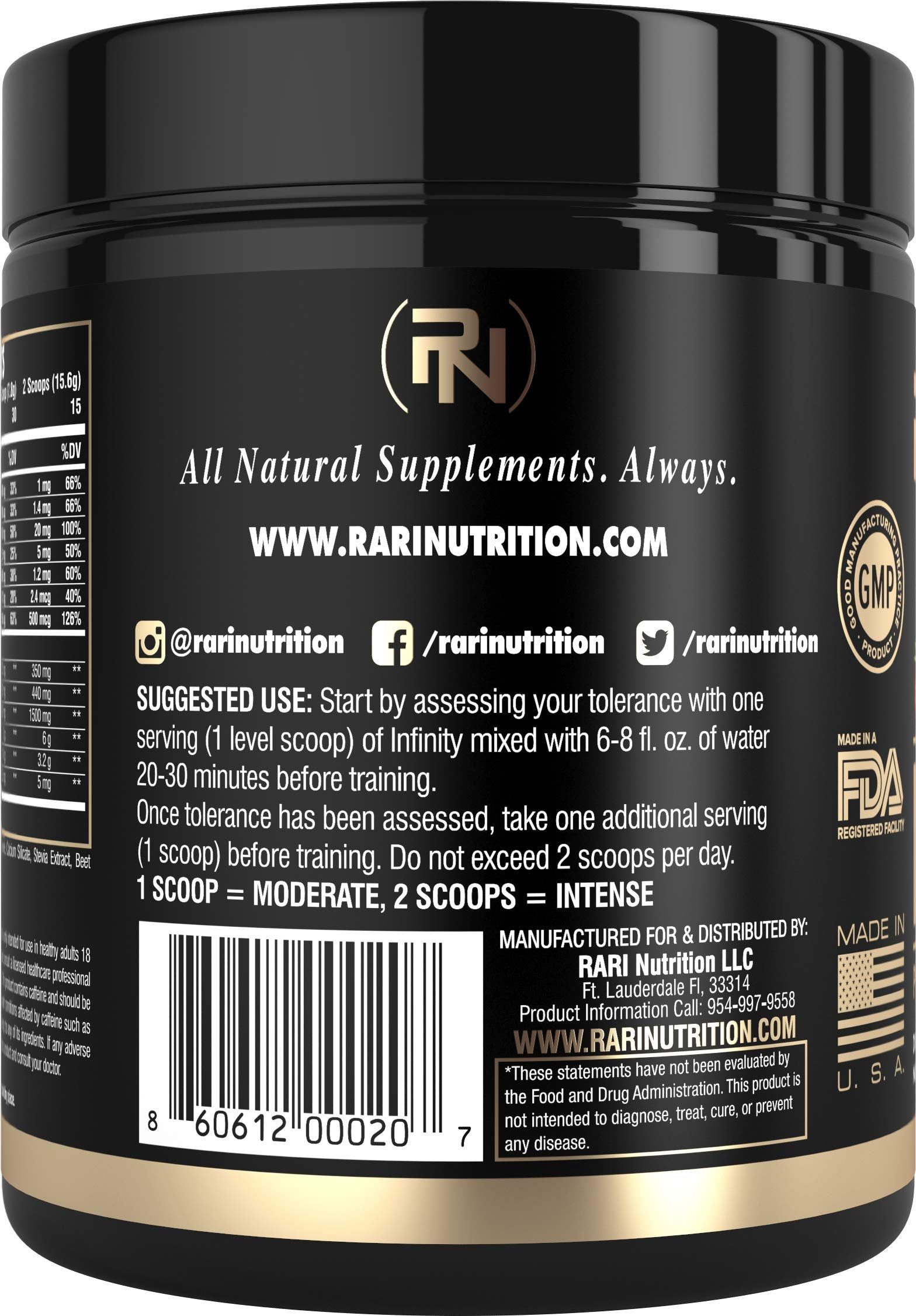 RARI Nutrition - INFINITY Preworkout - 100% Natural Pre Workout Powder - Keto and Vegan Friendly - Energy, Focus, and Performance - Men and Women - No Creatine - 30 Servings (Strawberry Lemonade)