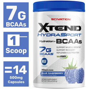 Scivation Xtend Hydrasport Bcaa Powder, Blue Raspberry, 30 Servings, Keto Friendly, Branched Chain Amino Acids, Bcaas, Zero Sugar Electrolyte Drink Powder + Hydration