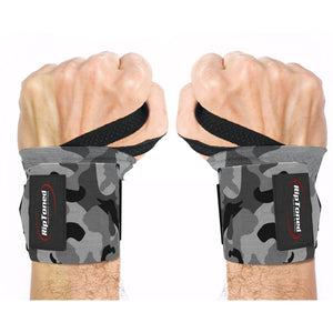 "Rip Toned Wrist Wraps 18"" Professional Grade with Thumb Loops - Wrist Support for Men & Women - Weight Lifting, Crossfit, Powerlifting, Strength Training - Bonus Ebook - (Gray Camo Stiff)"