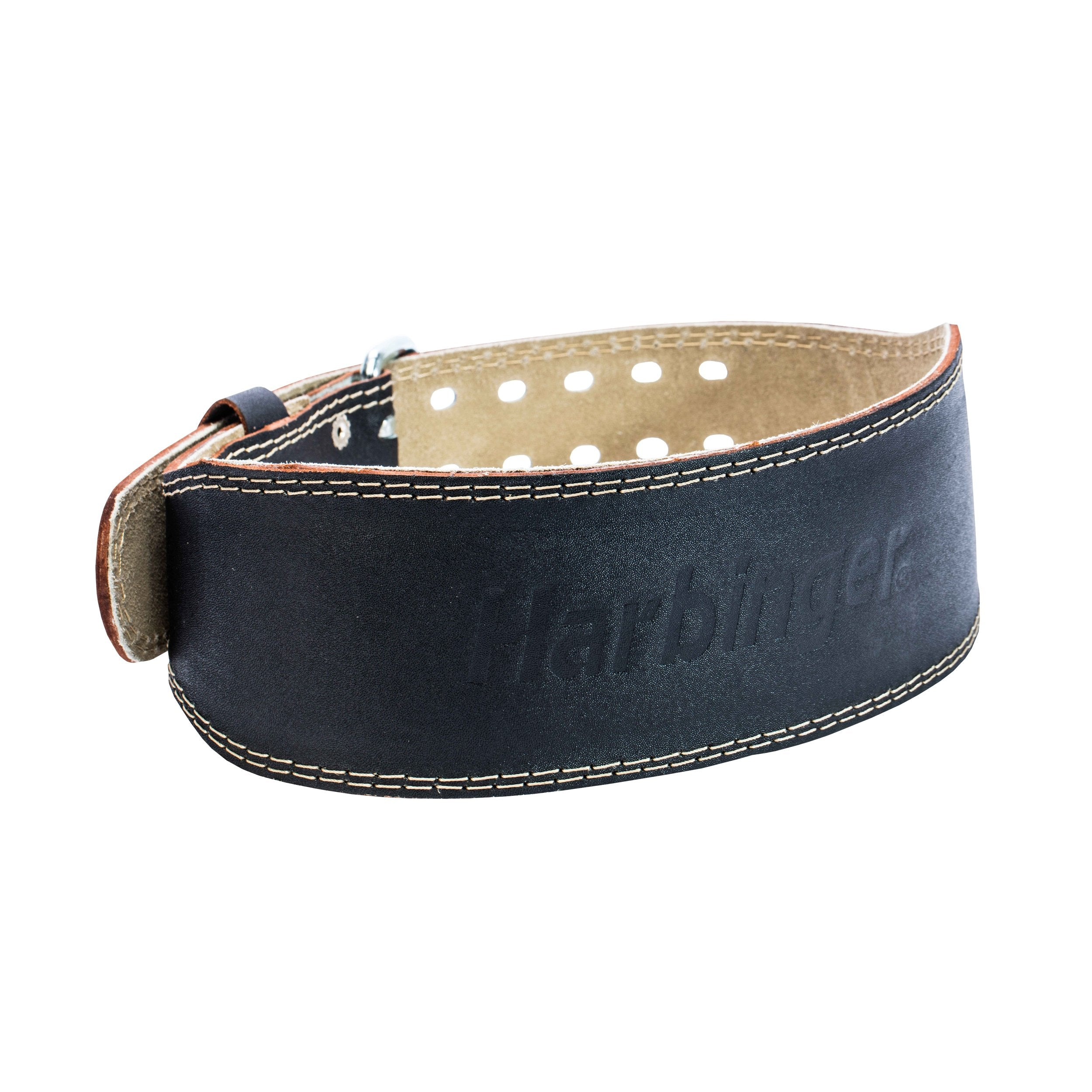 Harbinger Padded Leather Contoured Weightlifting Belt with Suede Lining and Steel Roller Buckle, 4-Inch, Large