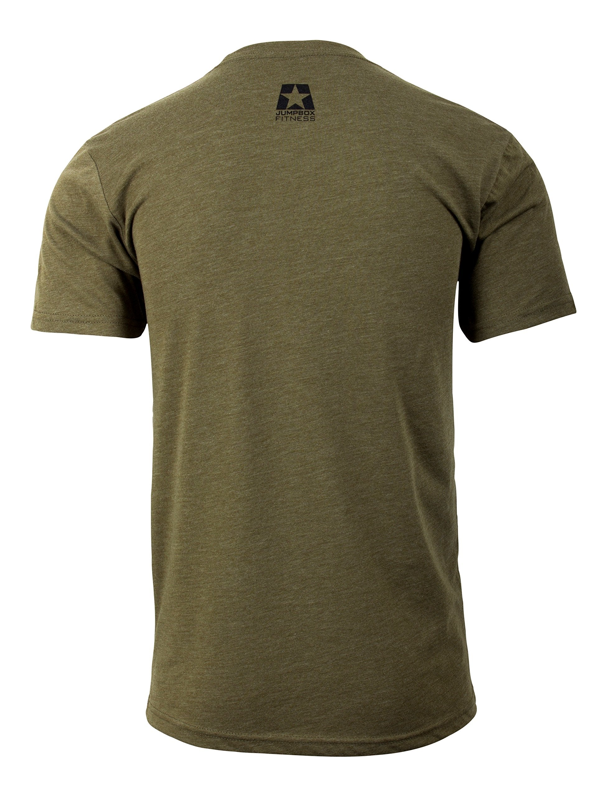 Jumpbox Fitness Raise the Bar - Military Green - Men's Barbell Weightlifting Triblend Workout T-shirt