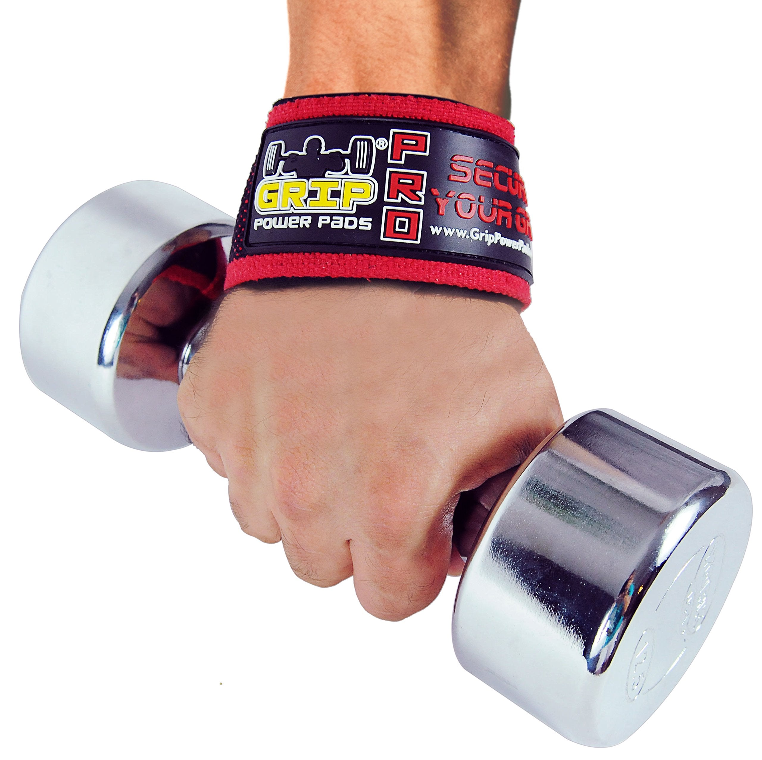 "Grip Power Pads PRO Level Cotton Lifting Straps with Neoprene Wrist Pad Support & Silicone Grip Enhancement - Up to 24"" Long Weightlifting Straps & 2"" Wide for Maximum Support"