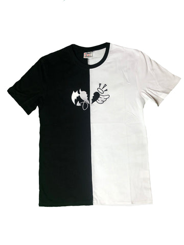 T-Shirt Black N White Split with Heart Logo