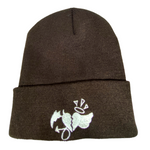 Beanie Brown with White Heart Logo
