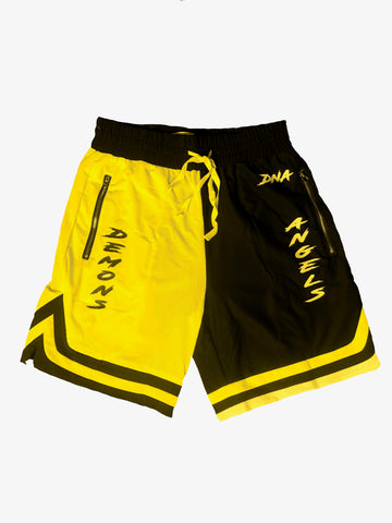 Shorts Yellow N Black Split