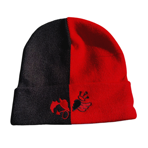 Black and Red Split Beanie with heart logo