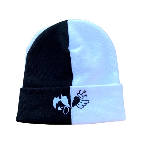 Black  and White Split Beanie with heart logo