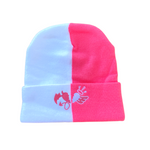 White and Pink Split Beanie with heart logo