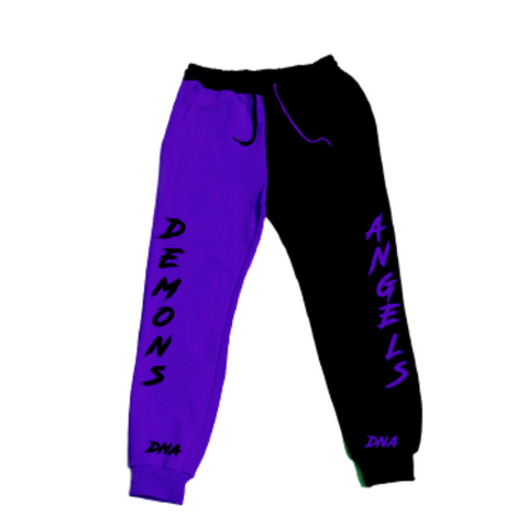 "Purple and Black Inverted ""Grape Split Pants"""