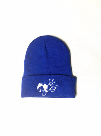 Beanie Blue with white heart logo