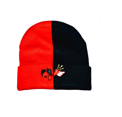 Red and Black Split Beanie with heart logo