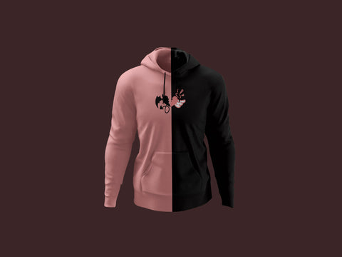 Pink and Black Split Hoodie
