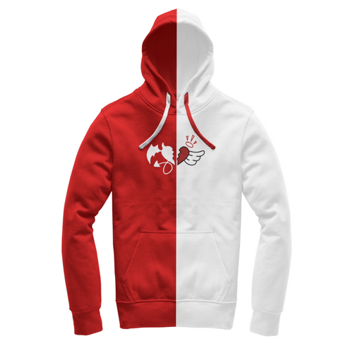 Red and White Split hoodie