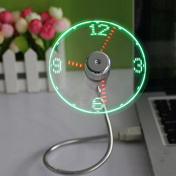 USB Mini Flexible Time LED Clock Fan
