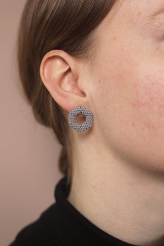 Small Link Earring - Grey