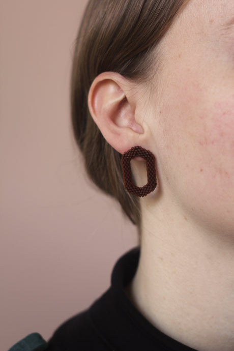 Link Earring - Brown