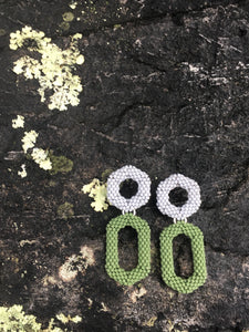 Drop Earring - Grey & Green