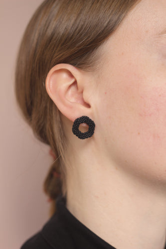 Small Link Earring - Black