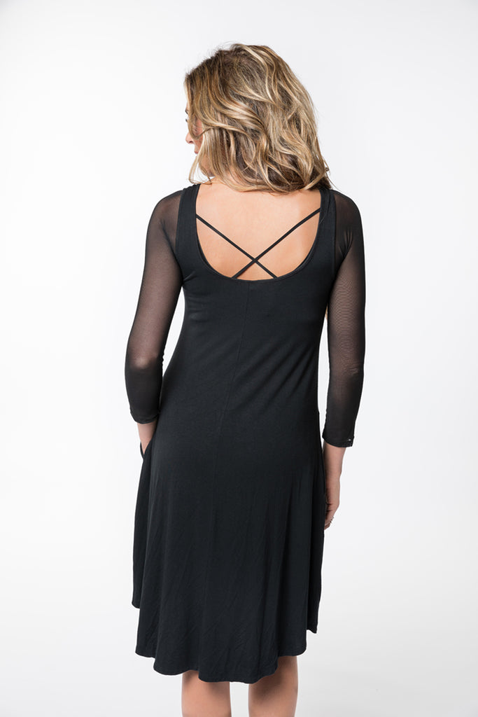 Criss-Cross 3/4 Sleeve Black Mesh
