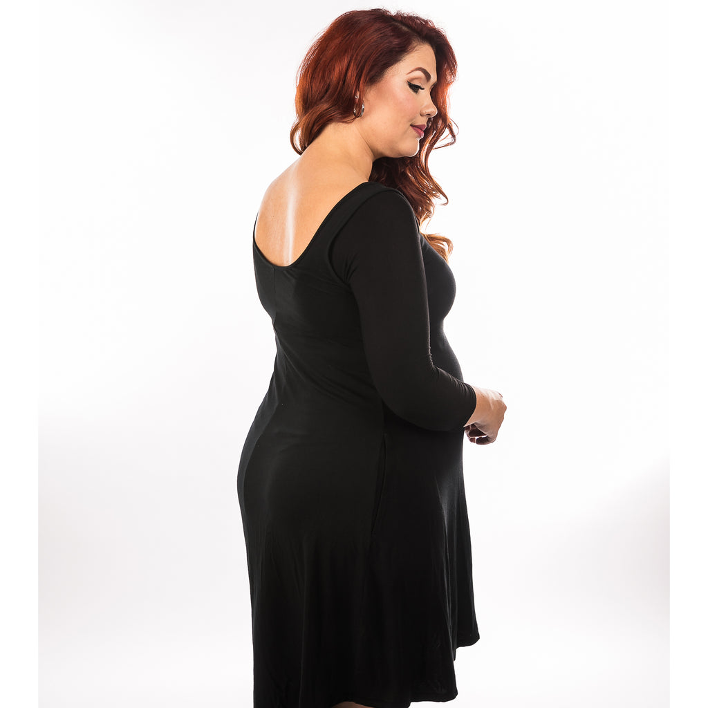 Criss-Cross 3/4 Sleeve Black Jersey - Plus Size