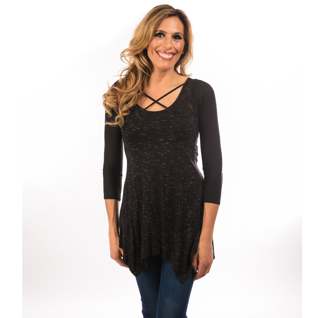 Criss-Cross 3/4 Sleeve Black Jersey