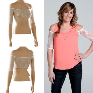 Bandeau 1/2 Sleeve Ivory Lace - Plus Size