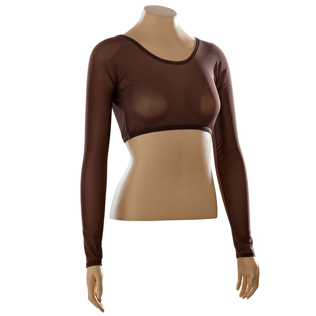 Basic Brown Mesh Long Sleeve
