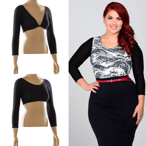 Basic 3/4 Sleeve Black Jersey - Plus Size