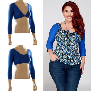 Basic 3/4 Sleeve Blue Jersey - Plus Size