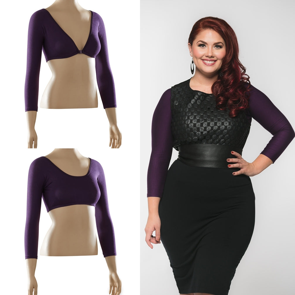 Basic 3/4 Sleeve Eggplant Jersey - Plus Size
