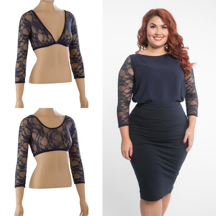 Basic 3/4 Sleeve Navy Lace - Plus Size