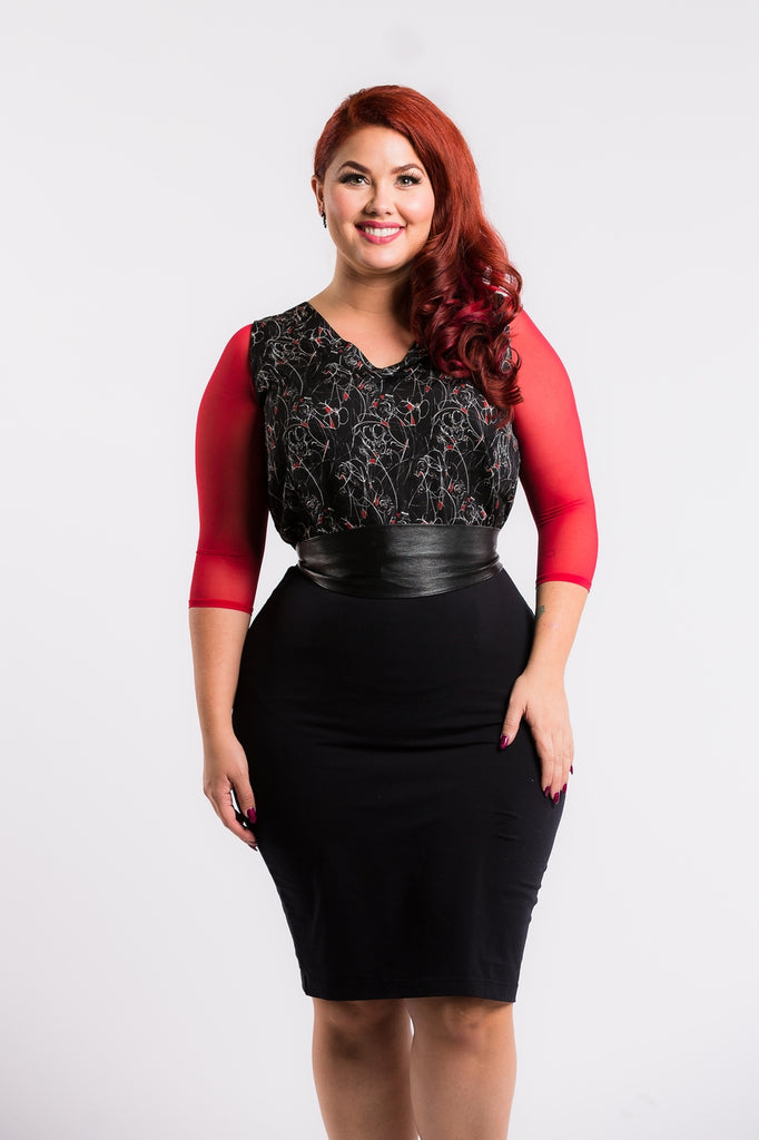 Basic 3/4 Sleeve Red Mesh - Plus Size