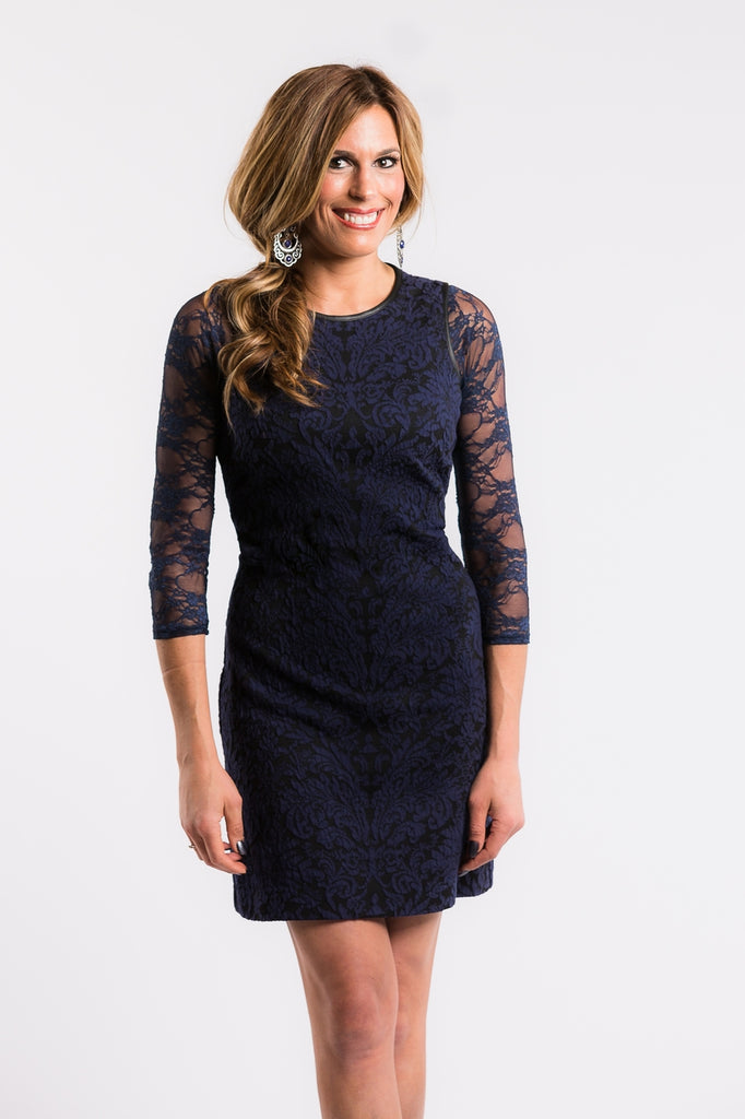 Basic 3/4 Sleeve Navy Lace