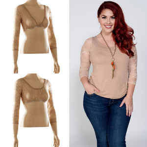 Basic 3/4 Sleeve Taupe Lace - Plus Size