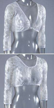 Basic 3/4 Sleeve White Lace - Plus Size