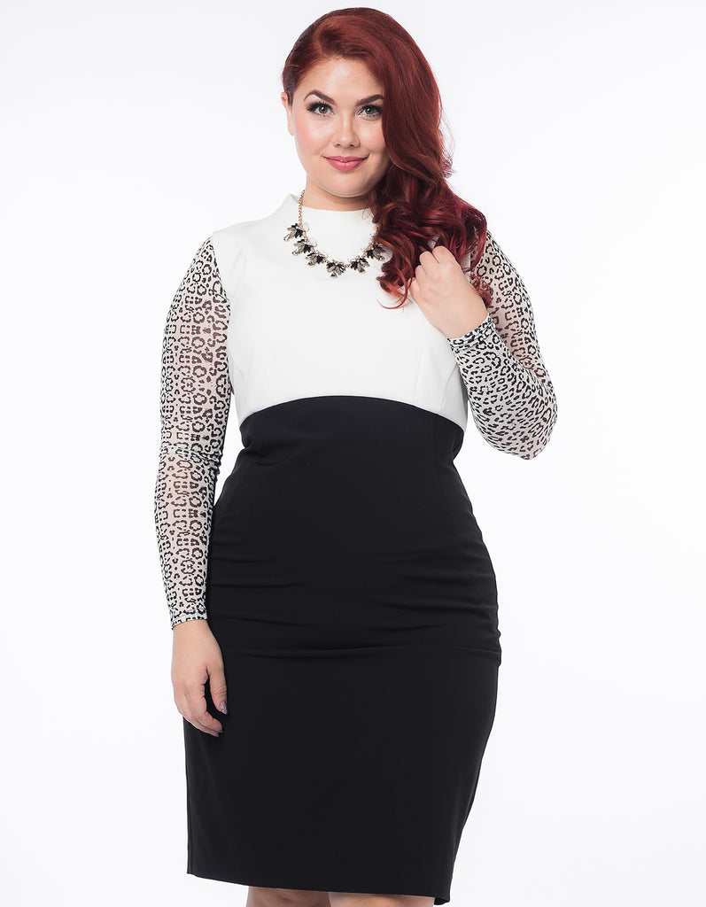 Basic Long Sleeve Ivory / Black Animal Print Mesh Plus Size