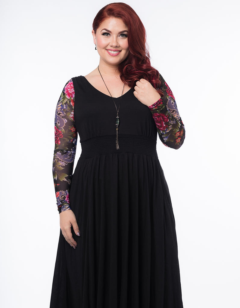 Basic Long Sleeve Tattoo Floral Mesh (Plus Size)