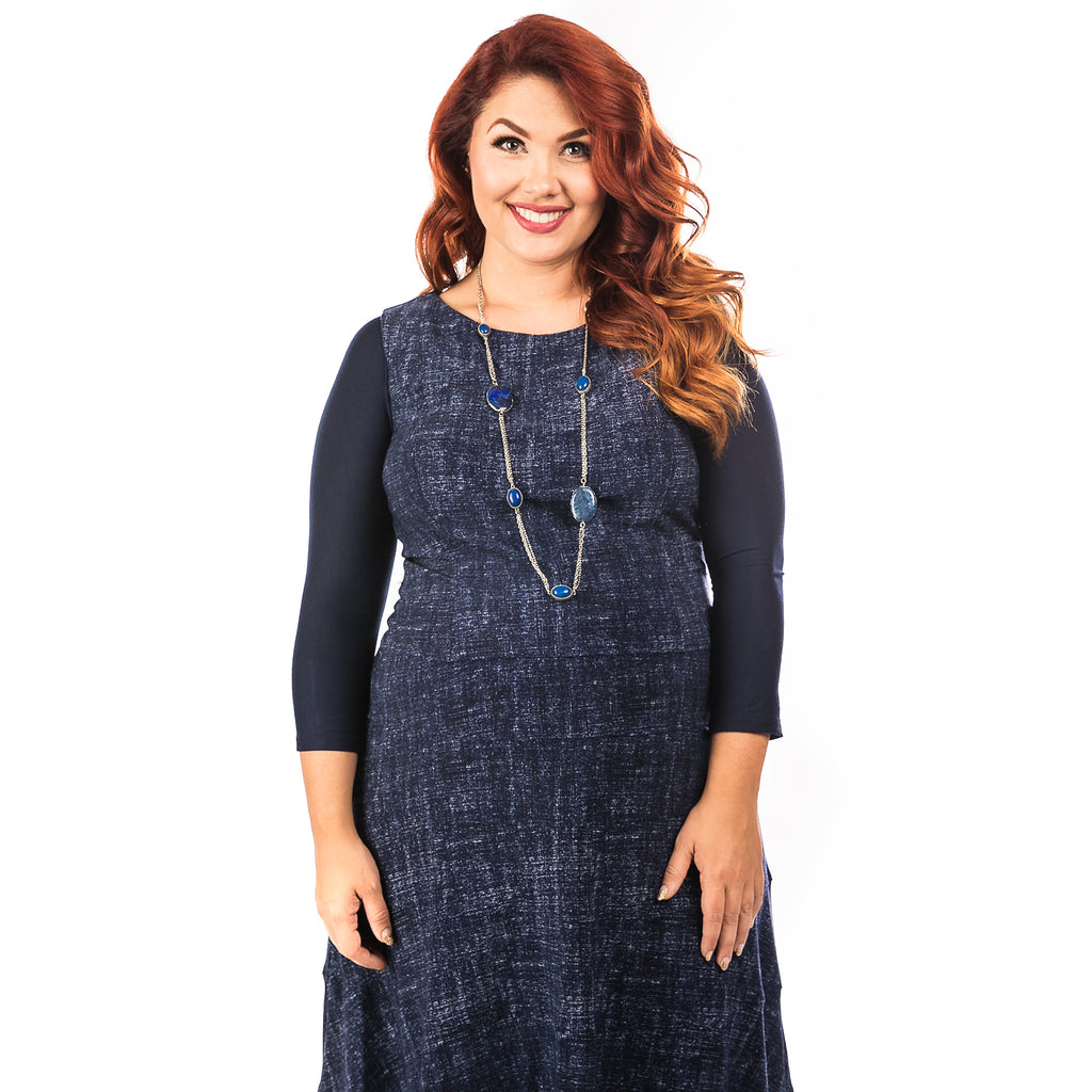 Basic 3/4 Sleeve Navy Jersey - Plus Size