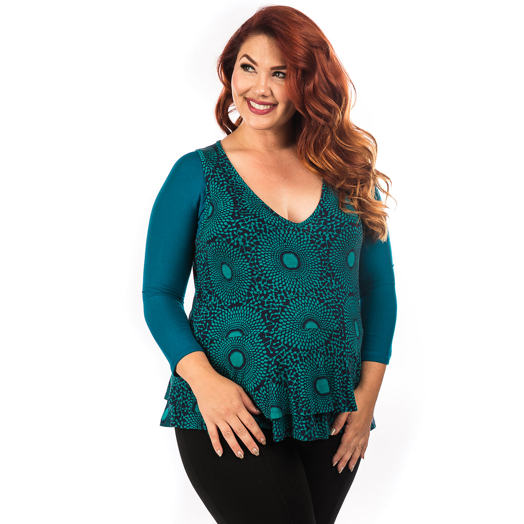 Basic 3/4 Sleeve Teal Jersey - Plus Size