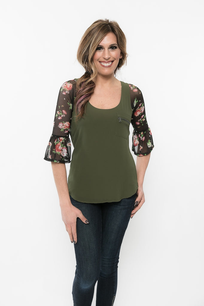 Bell 3/4 Sleeve Floral Mesh