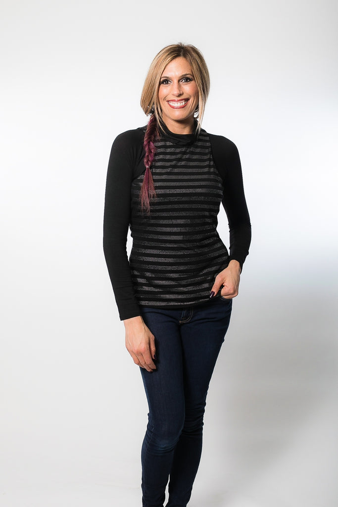 High Neck Long Sleeve in Black Jersey (XS-XL)