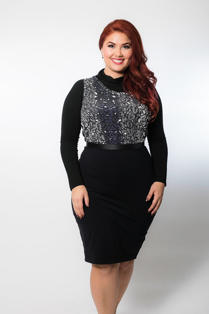 High Neck Long Sleeve Black Jersey - Plus Size