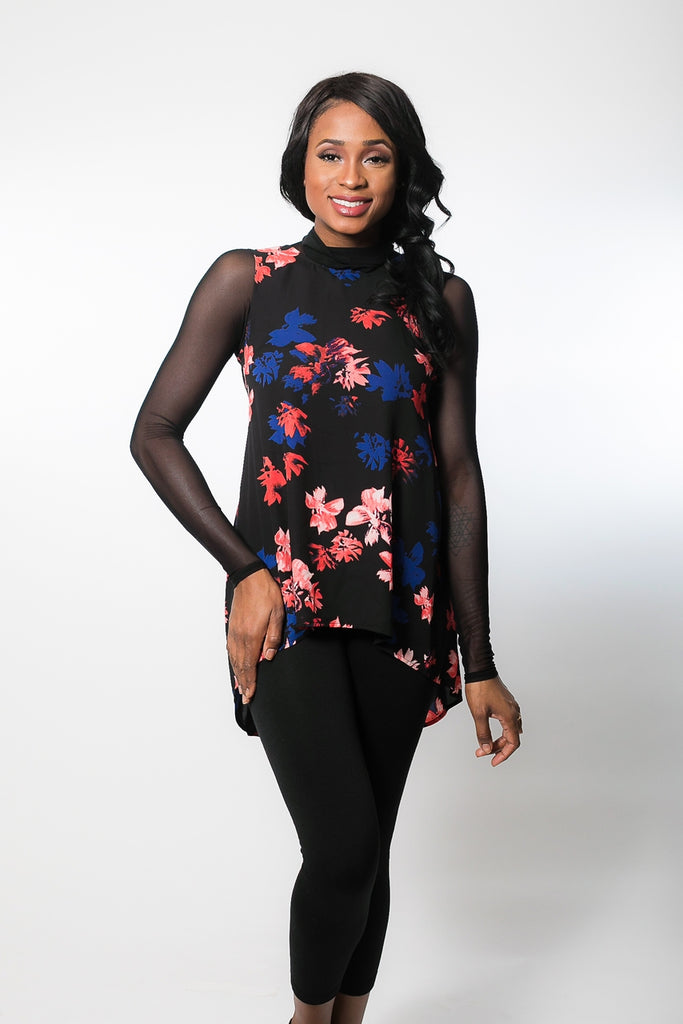 High Neck Long Sleeve in Black Mesh (XS-XL)