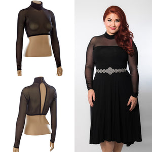 High Neck Long Sleeve in Black Mesh - Plus Size