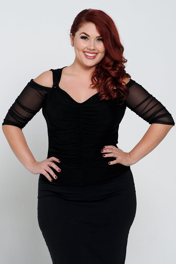 Waterfall 1/2 Sleeve High Back Reversible Black Mesh - Plus Size